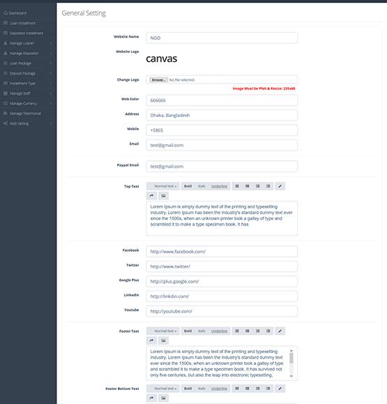 website design & development Multipurpose NGO ADMIN Features (Frontend Settings)